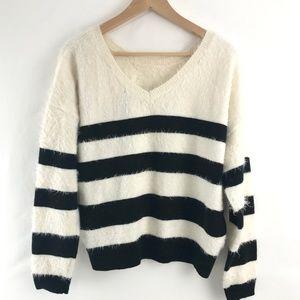DKNY Fuzzy Reversible Striped Eyelash Sweater